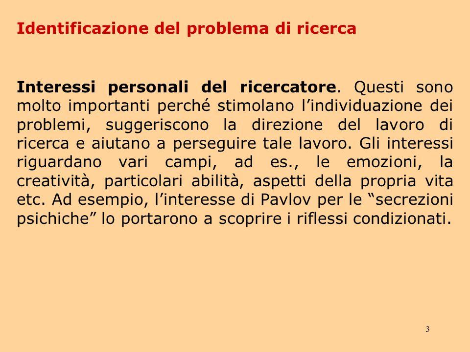 3 Identificazione del problema di ricerca Interessi personali del ricercatore.