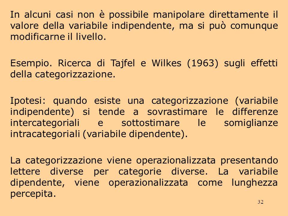 32 In alcuni casi non è possibile manipolare direttamente il valore della variabile indipendente, ma si può comunque modificarne il livello.