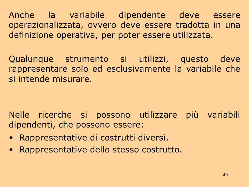 40 Anche la variabile dipendente deve essere operazionalizzata, ovvero deve essere tradotta in una definizione operativa, per poter essere utilizzata.