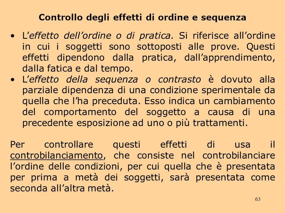 63 Controllo degli effetti di ordine e sequenza Leffetto dellordine o di pratica.