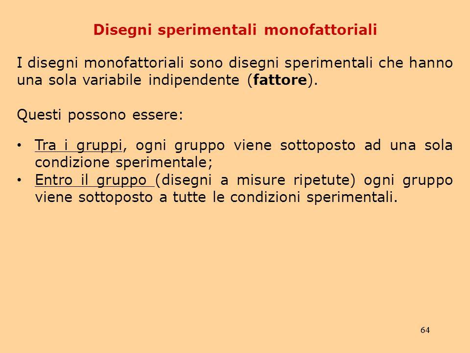 64 Disegni sperimentali monofattoriali I disegni monofattoriali sono disegni sperimentali che hanno una sola variabile indipendente (fattore).