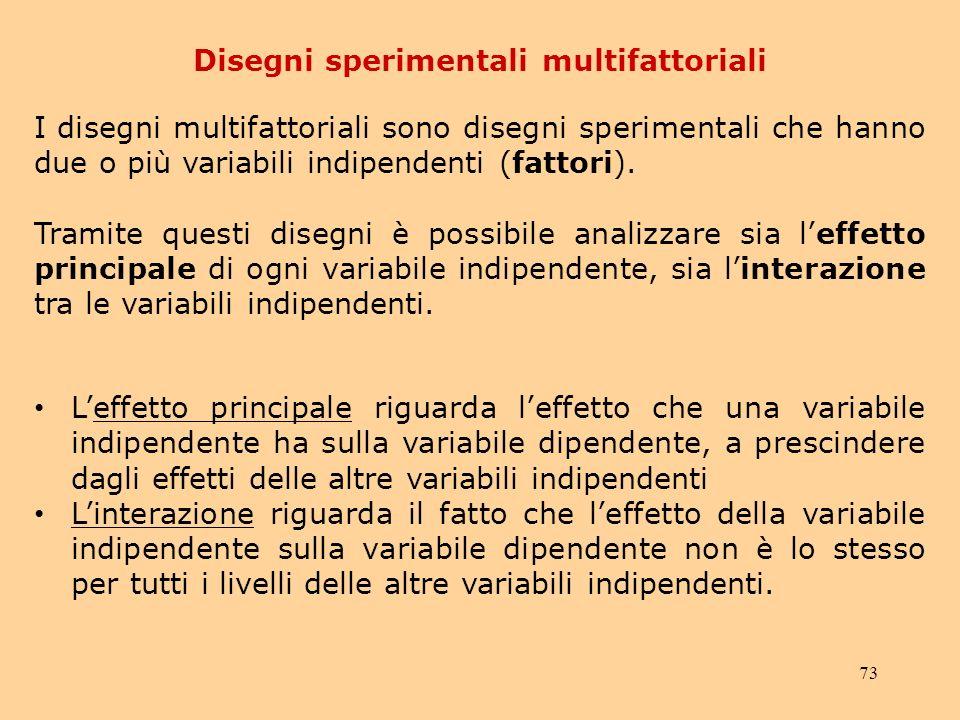73 Disegni sperimentali multifattoriali I disegni multifattoriali sono disegni sperimentali che hanno due o più variabili indipendenti (fattori).