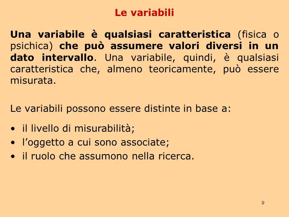 9 Le variabili Una variabile è qualsiasi caratteristica (fisica o psichica) che può assumere valori diversi in un dato intervallo.