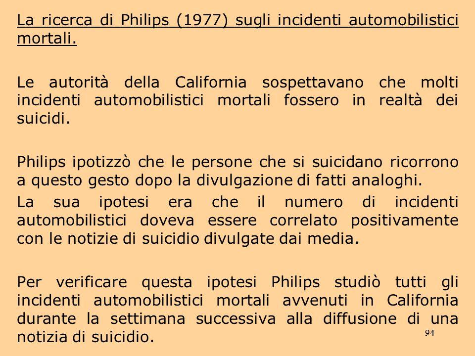 94 La ricerca di Philips (1977) sugli incidenti automobilistici mortali.