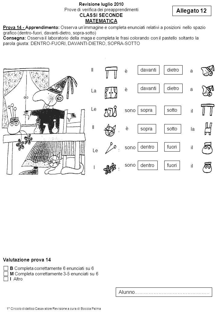 Prova 14 - Apprendimento: Osserva unimmagine e completa enunciati relativi a posizioni nello spazio grafico (dentro-fuori, davanti-dietro, sopra-sotto