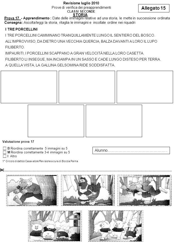 Allegato 15 Revisione luglio 2010 Prove di verifica dei preapprendimenti CLASSI SECONDE Prova 17 - Apprendimento : Date delle immagini relative ad una