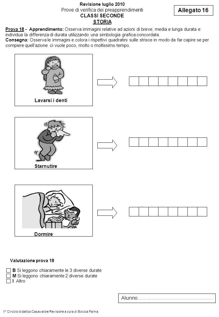 Prova 18 - Apprendimento: Osserva immagini relative ad azioni di breve, media e lunga durata e individua la differenza di durata utilizzando una simbo