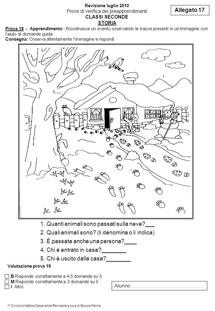 Prova 19 - Apprendimento : Ricostruisce un evento osservando le tracce presenti in unimmagine con laiuto di domande guida. Consegna: Osserva attentame