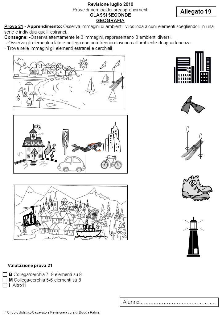 Prova 21 - Apprendimento: Osserva immagini di ambienti, vi colloca alcuni elementi scegliendoli in una serie e individua quelli estranei. Consegne: -O