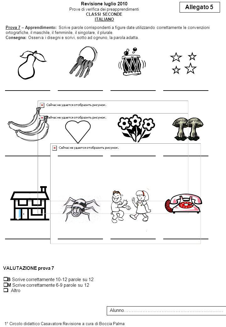 Prova 7 – Apprendimento: Scrive parole corrispondenti a figure date utilizzando correttamente le convenzioni ortografiche, il maschile, il femminile,
