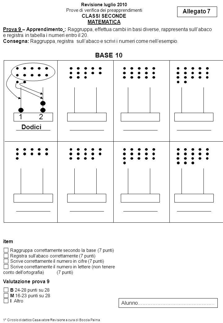 Prova 9 – Apprendimento : Raggruppa, effettua cambi in basi diverse, rappresenta sullabaco e registra in tabella i numeri entro il 20. Consegna: Raggr