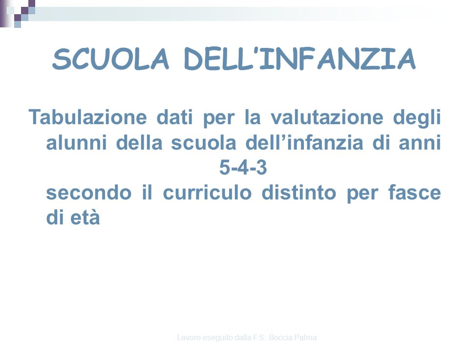 Progetto di Valutazione Rilevazioni in ingresso, intermedi, finali a.s. 2010/11 Lavoro eseguito dalla F.S. Boccia Palma Scuola dellInfanzia I C. D. B.