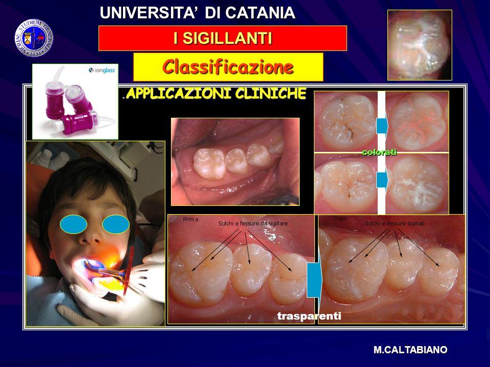 . APPLICAZIONI CLINICHE. APPLICAZIONI CLINICHE Classificazione I SIGILLANTI UNIVERSITA DI CATANIA M.CALTABIANO trasparenti colorati