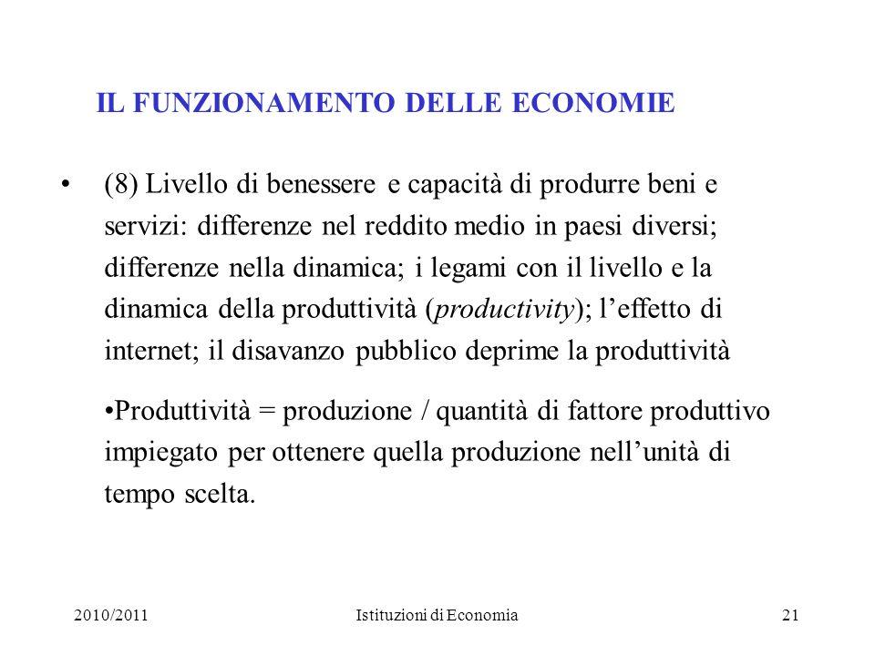 2010/2011Istituzioni di Economia21 IL FUNZIONAMENTO DELLE ECONOMIE (8) Livello di benessere e capacità di produrre beni e servizi: differenze nel redd