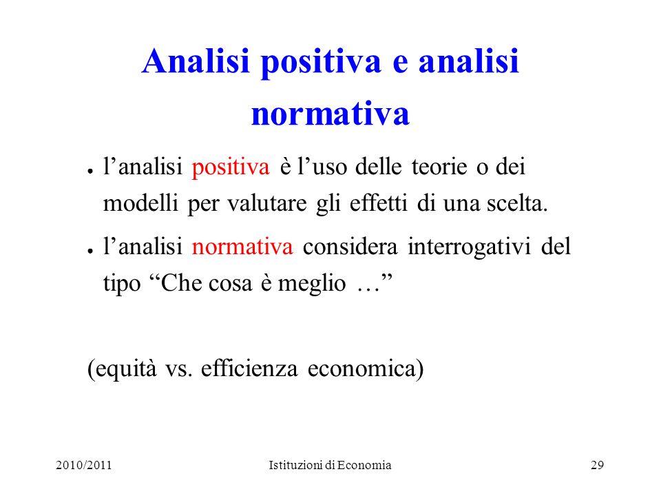 2010/2011Istituzioni di Economia29 Analisi positiva e analisi normativa lanalisi positiva è luso delle teorie o dei modelli per valutare gli effetti d