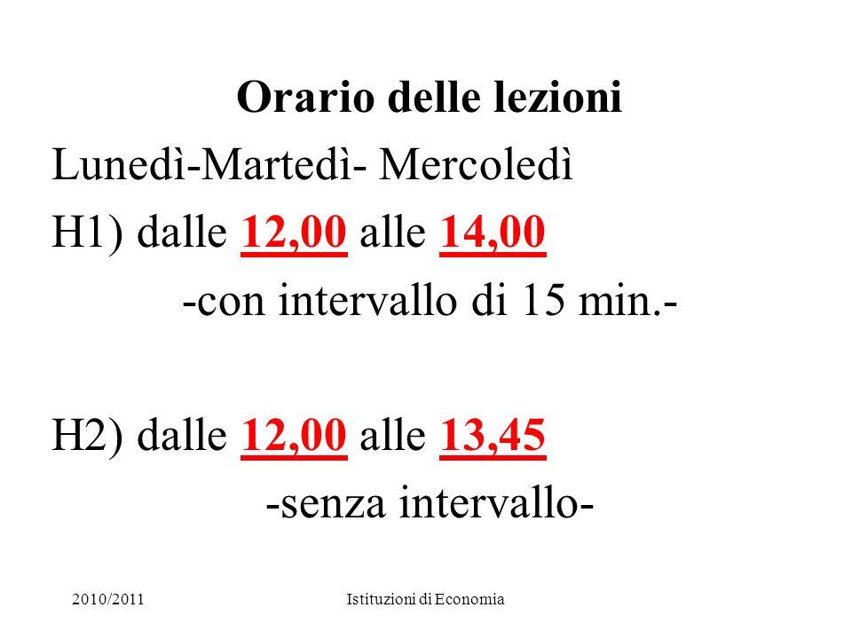 2010/2011Istituzioni di Economia4 RICEVIMENTO Mercoledì dalle ore 10,00 alle 12,00 (piano IV, stanza 13) Lunedì dalle ore 16,00 alle 17,00 ( Fac.