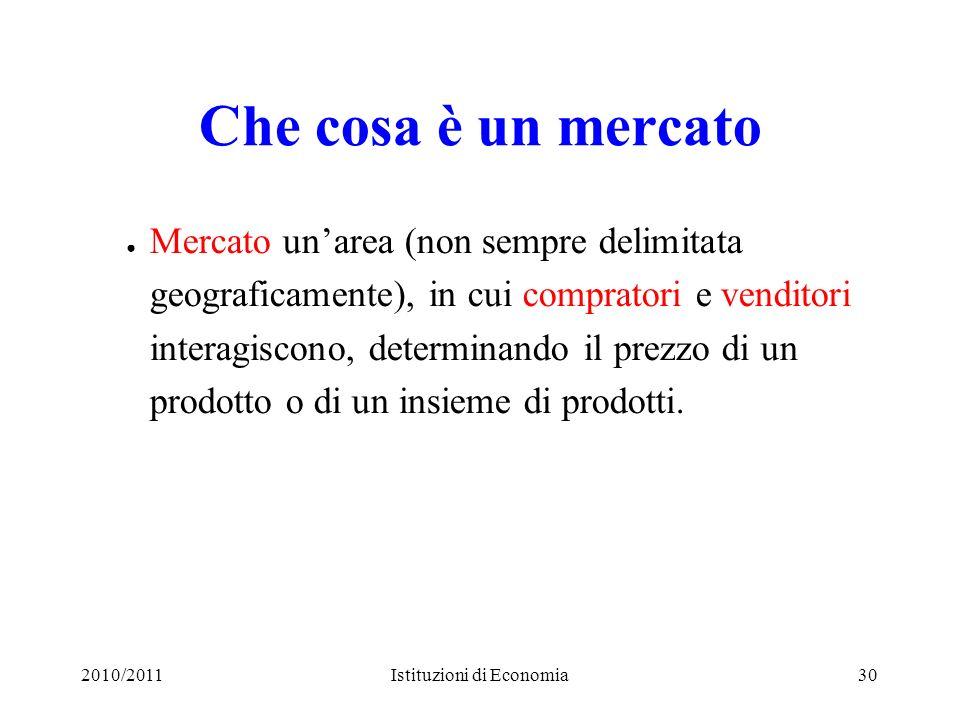 2010/2011Istituzioni di Economia30 Che cosa è un mercato Mercato unarea (non sempre delimitata geograficamente), in cui compratori e venditori interag