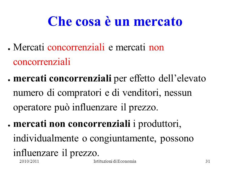 2010/2011Istituzioni di Economia31 Che cosa è un mercato Mercati concorrenziali e mercati non concorrenziali mercati concorrenziali per effetto dellel