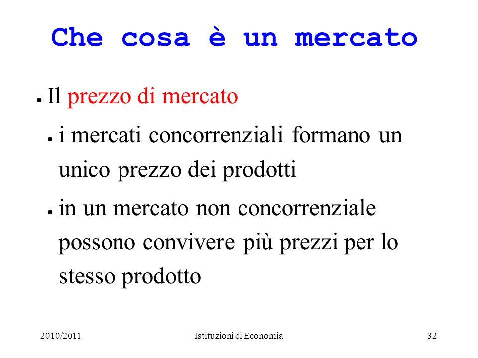 2010/2011Istituzioni di Economia32 Che cosa è un mercato Il prezzo di mercato i mercati concorrenziali formano un unico prezzo dei prodotti in un merc