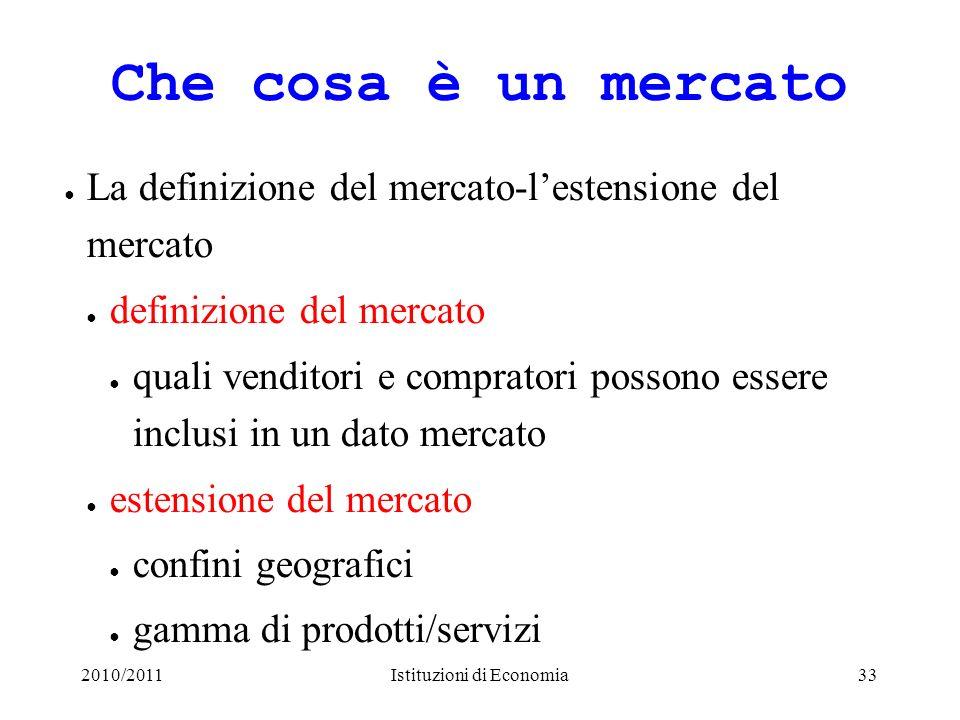 2010/2011Istituzioni di Economia33 Che cosa è un mercato La definizione del mercato-lestensione del mercato definizione del mercato quali venditori e