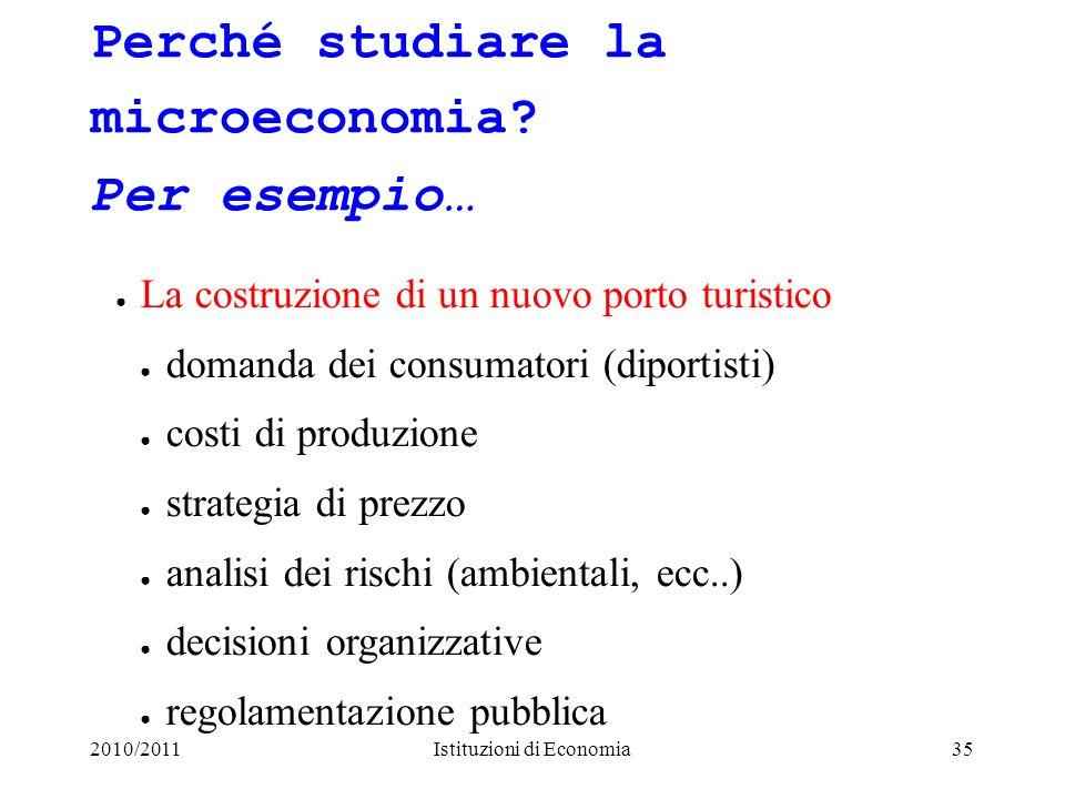 2010/2011Istituzioni di Economia35 Perché studiare la microeconomia? Per esempio… La costruzione di un nuovo porto turistico domanda dei consumatori (