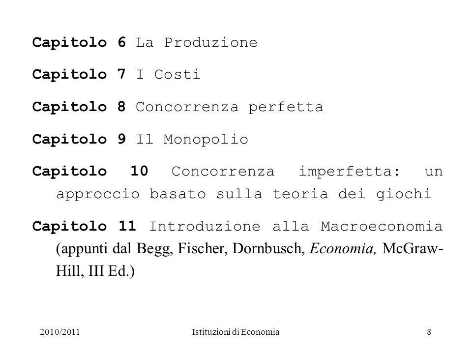 2010/2011Istituzioni di Economia Modalità di esame Per tutti gli studenti (frequentanti e non) lesame è scritto.