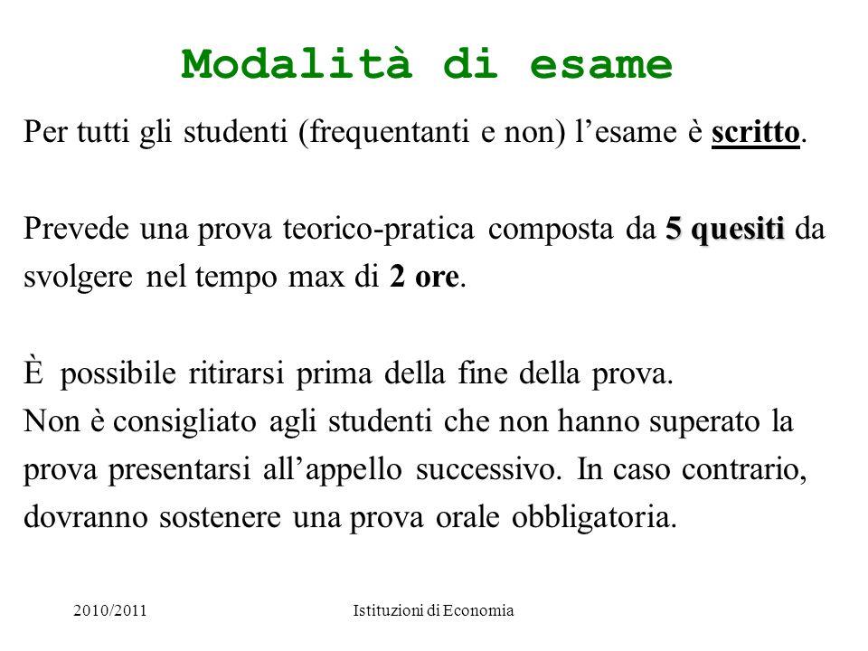 2010/2011Istituzioni di Economia Modalità di esame Per tutti gli studenti (frequentanti e non) lesame è scritto. 5 quesiti Prevede una prova teorico-p