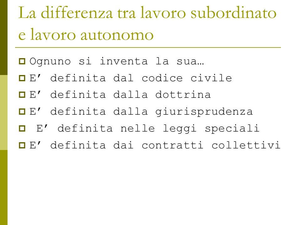La differenza tra lavoro subordinato e lavoro autonomo Ognuno si inventa la sua… E definita dal codice civile E definita dalla dottrina E definita dal