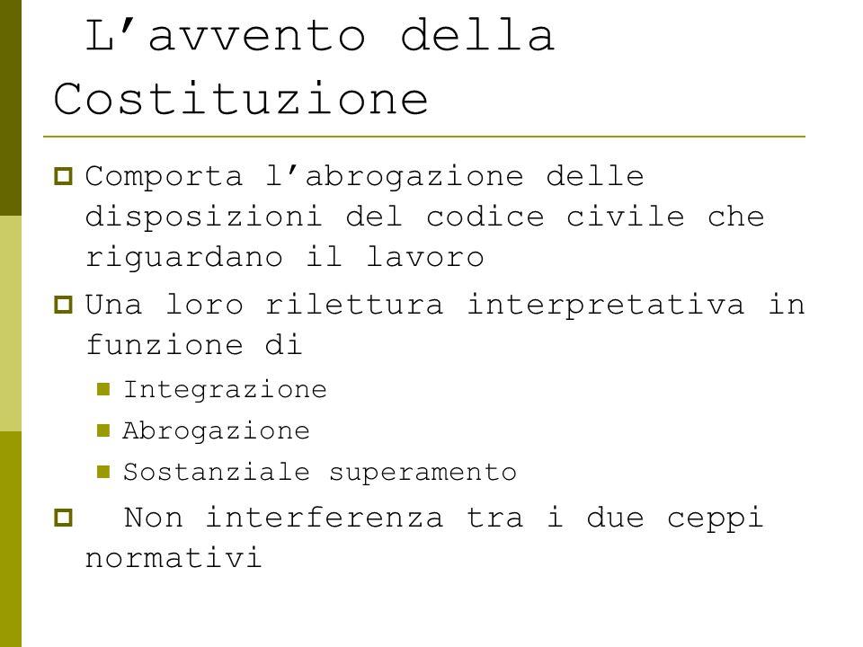 Lavvento della Costituzione Comporta labrogazione delle disposizioni del codice civile che riguardano il lavoro Una loro rilettura interpretativa in f
