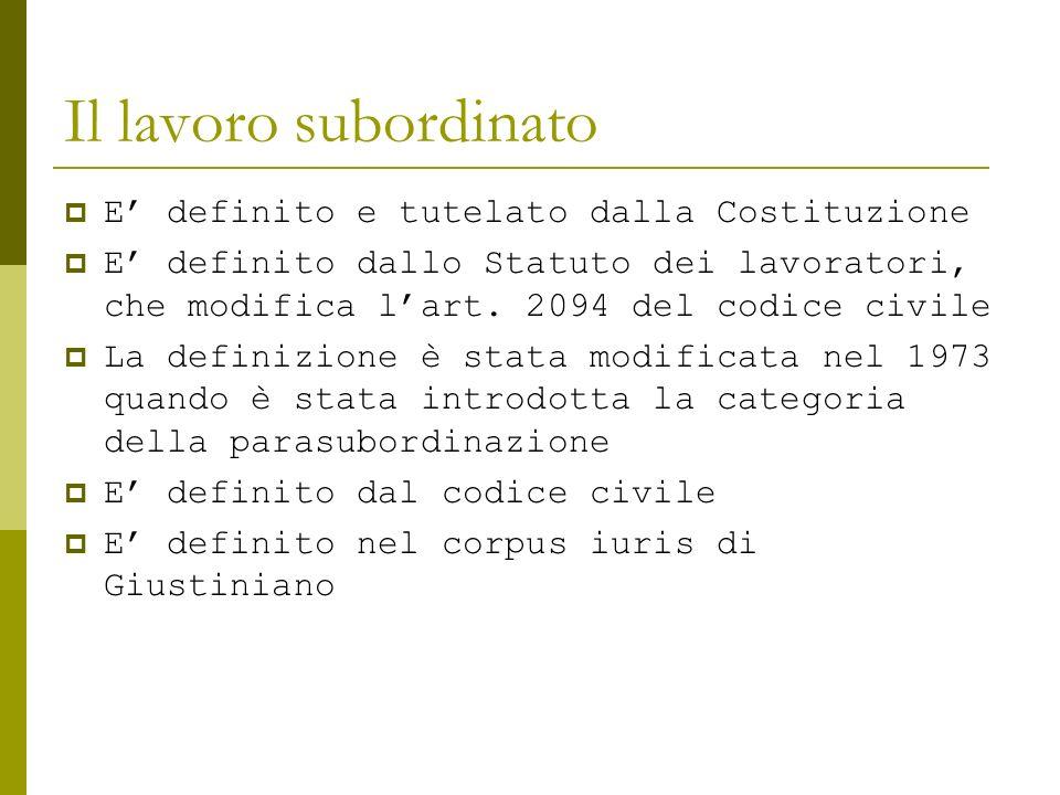 Il lavoro subordinato E definito e tutelato dalla Costituzione E definito dallo Statuto dei lavoratori, che modifica lart. 2094 del codice civile La d