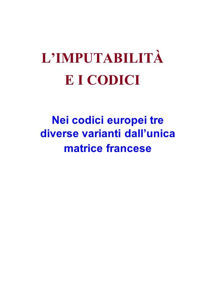 LIMPUTABILITÀ E I CODICI Nei codici europei tre diverse varianti dallunica matrice francese