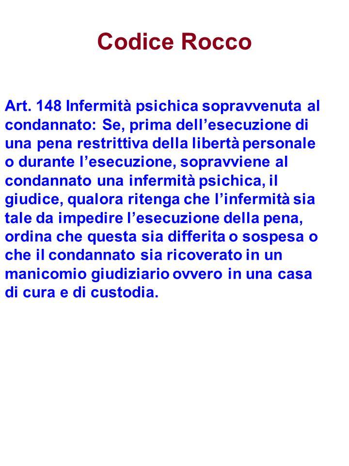 Codice Rocco Art. 148 Infermità psichica sopravvenuta al condannato: Se, prima dellesecuzione di una pena restrittiva della libertà personale o durant