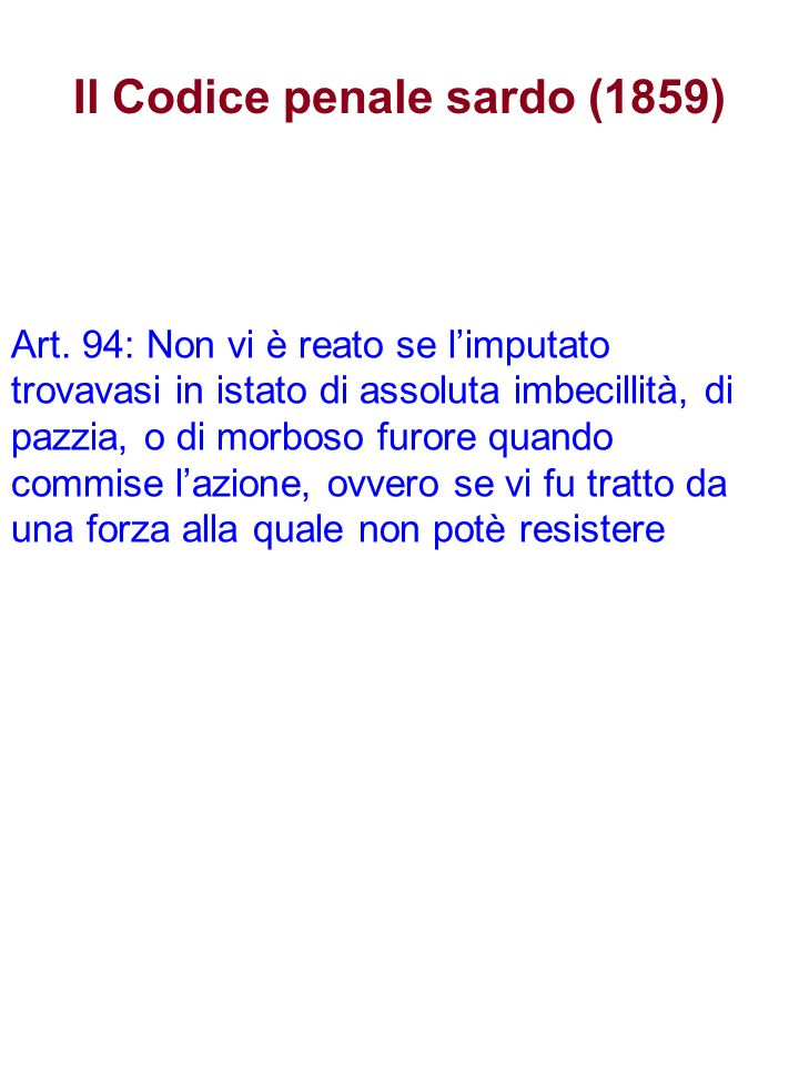 Il Codice penale sardo (1859) Art.