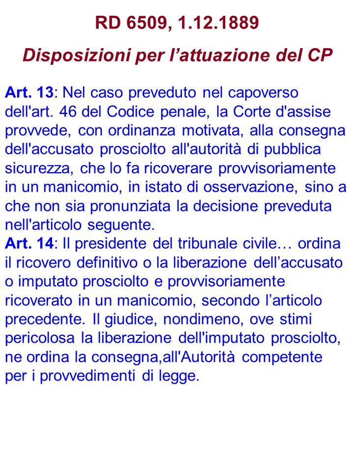 RD 6509, 1.12.1889 Disposizioni per lattuazione del CP Art. 13: Nel caso preveduto nel capoverso dell'art. 46 del Codice penale, la Corte d'assise pro