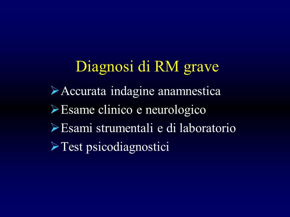 Diagnosi di RM grave Accurata indagine anamnestica Esame clinico e neurologico Esami strumentali e di laboratorio Test psicodiagnostici