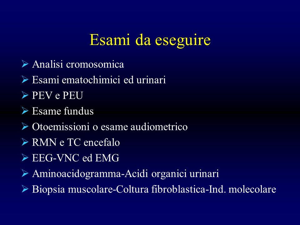 Esami da eseguire Analisi cromosomica Esami ematochimici ed urinari PEV e PEU Esame fundus Otoemissioni o esame audiometrico RMN e TC encefalo EEG-VNC