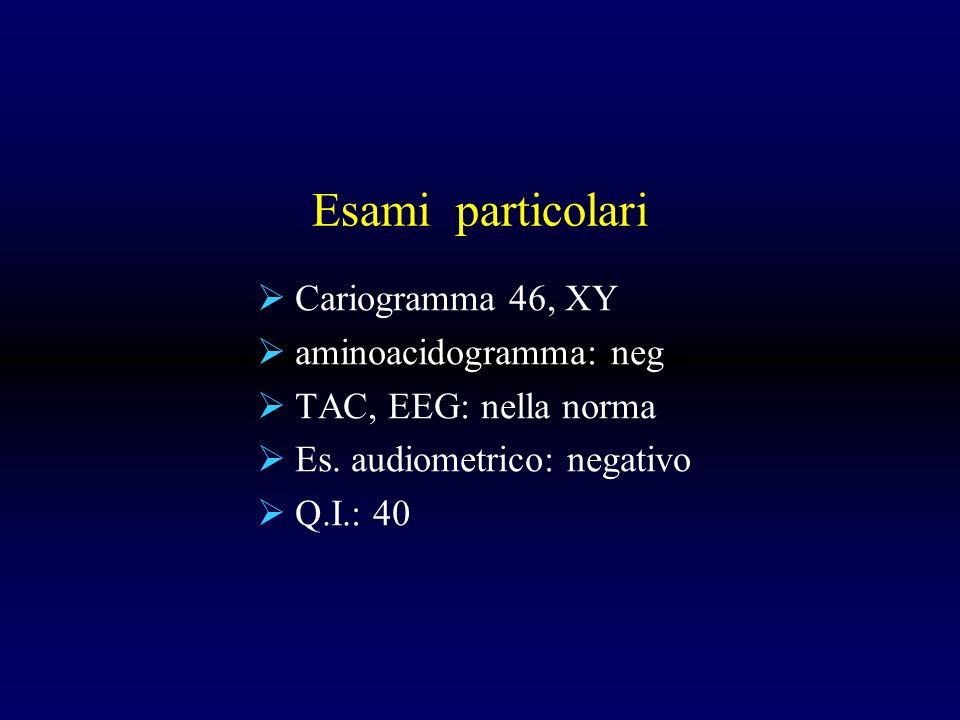 Esami particolari Cariogramma 46, XY aminoacidogramma: neg TAC, EEG: nella norma Es. audiometrico: negativo Q.I.: 40