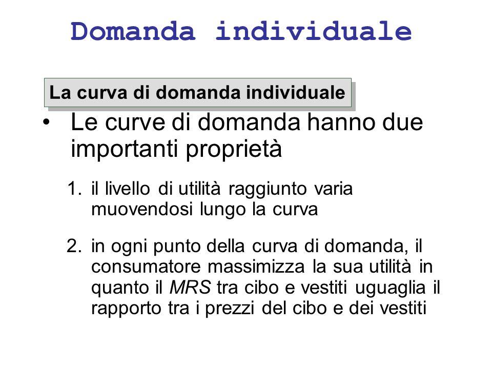 Domanda individuale Le curve di domanda hanno due importanti proprietà 1.il livello di utilità raggiunto varia muovendosi lungo la curva 2.in ogni pun