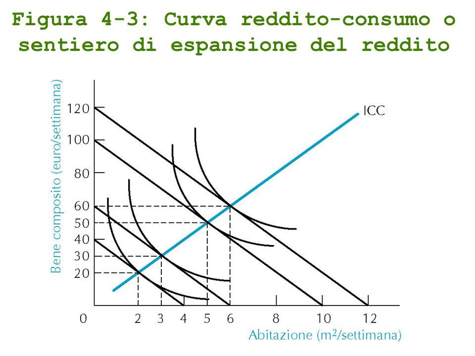 Figura 4-3: Curva reddito-consumo o sentiero di espansione del reddito
