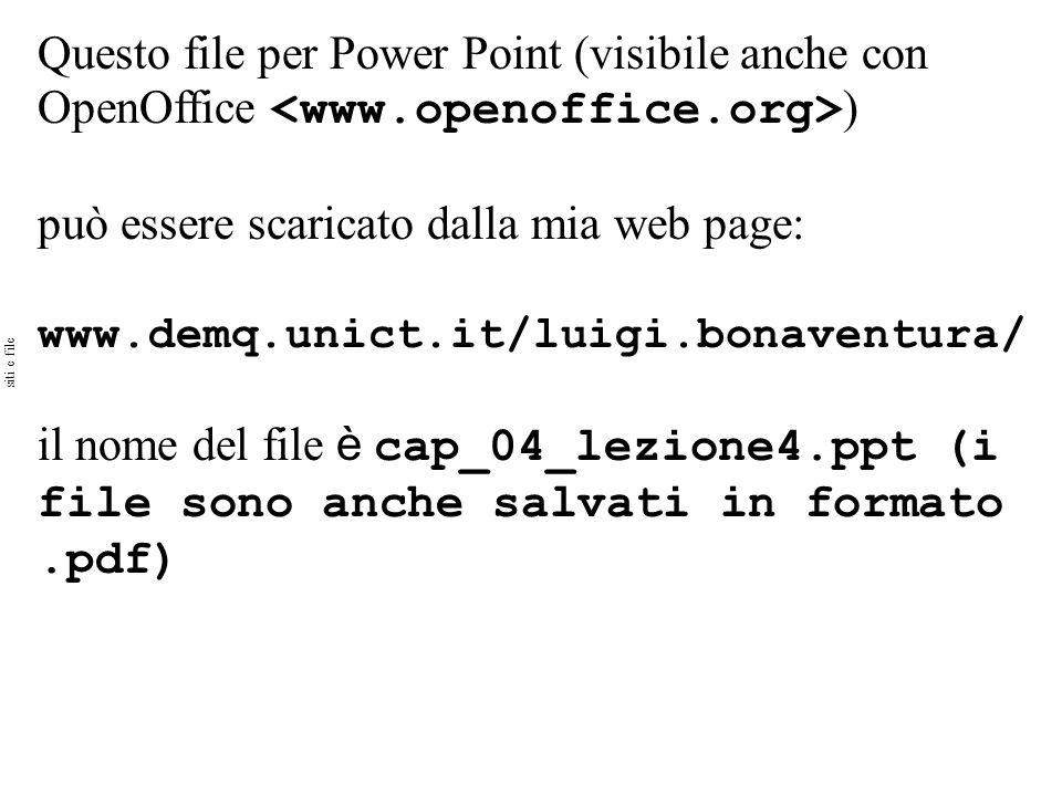Questo file per Power Point (visibile anche con OpenOffice ) può essere scaricato dalla mia web page: www.demq.unict.it/luigi.bonaventura/ il nome del