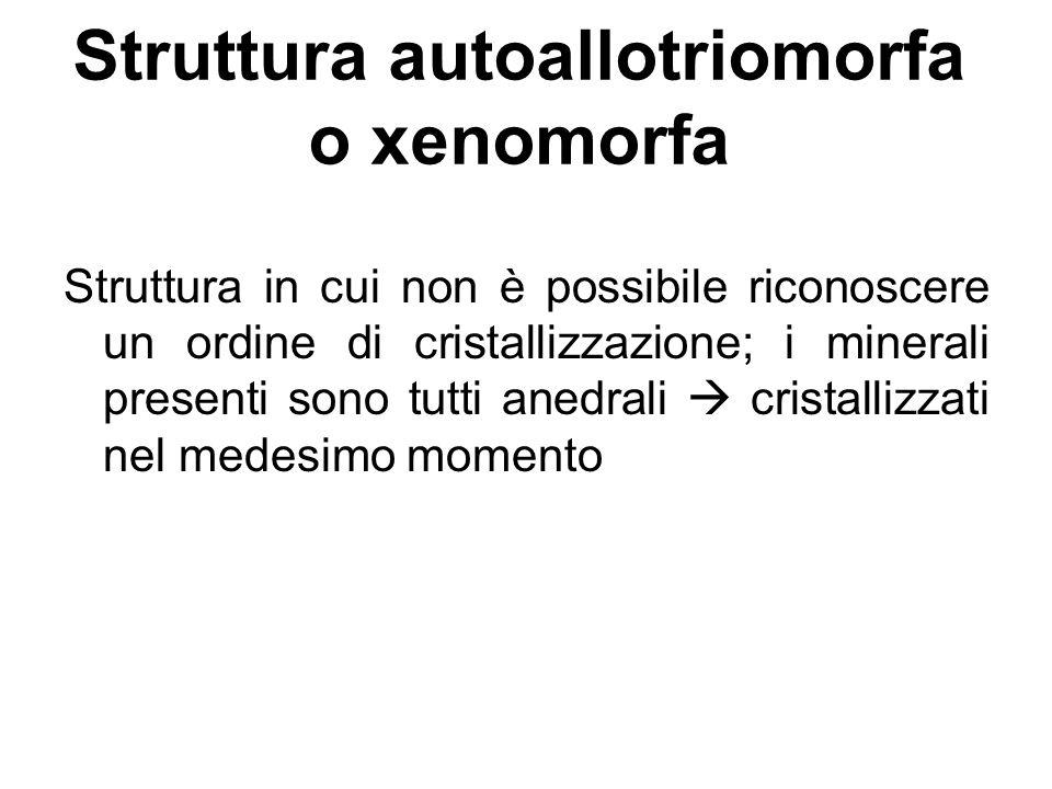 Struttura autoallotriomorfa o xenomorfa Struttura in cui non è possibile riconoscere un ordine di cristallizzazione; i minerali presenti sono tutti an