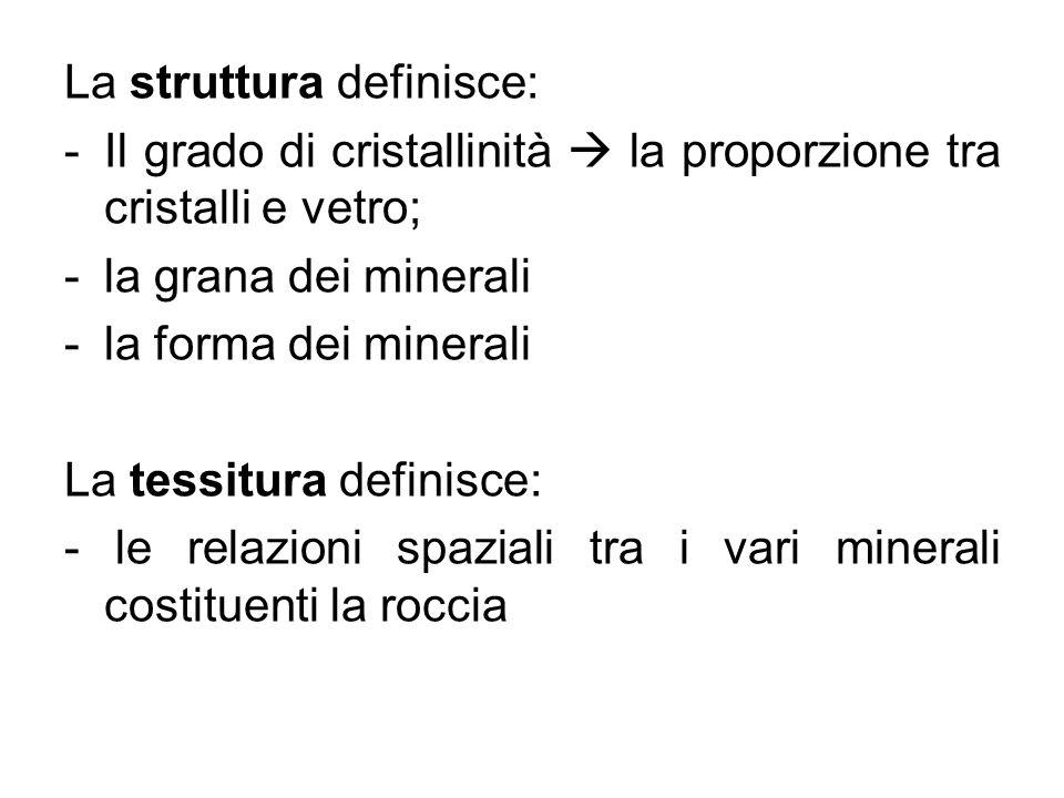La struttura definisce: -Il grado di cristallinità la proporzione tra cristalli e vetro; -la grana dei minerali -la forma dei minerali La tessitura de