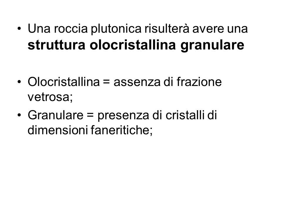 Una roccia plutonica risulterà avere una struttura olocristallina granulare Olocristallina = assenza di frazione vetrosa; Granulare = presenza di cris