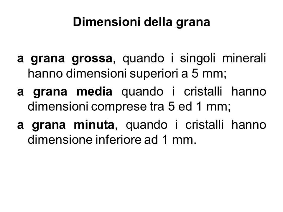 Dimensioni della grana a grana grossa, quando i singoli minerali hanno dimensioni superiori a 5 mm; a grana media quando i cristalli hanno dimensioni
