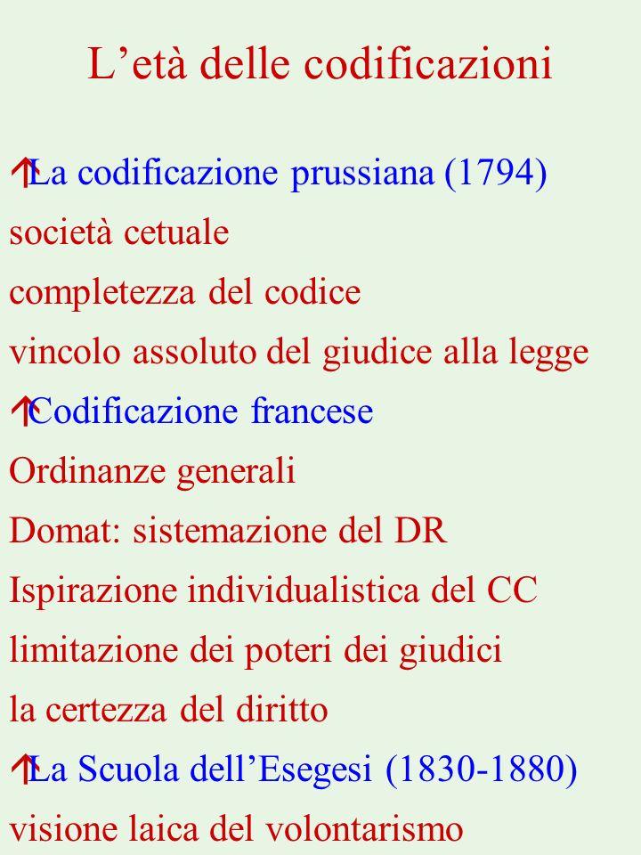 Letà delle codificazioni áLa codificazione prussiana (1794) società cetuale completezza del codice vincolo assoluto del giudice alla legge áCodificazi