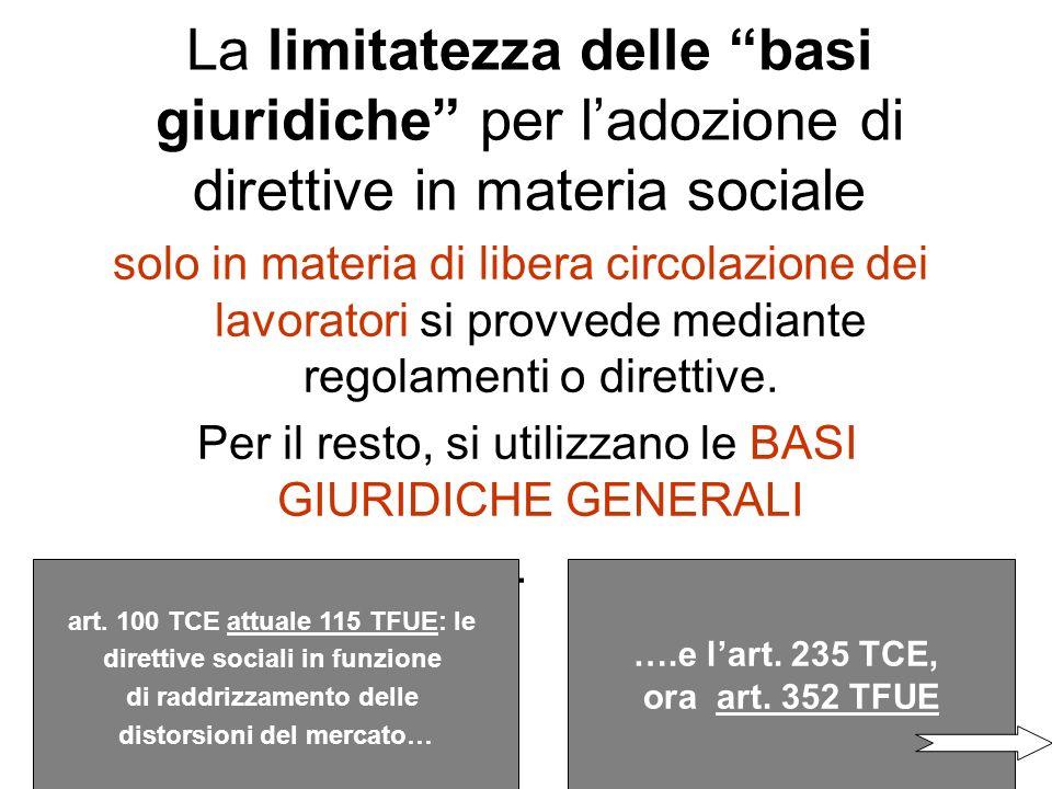 Lart. 141 (ex 119) TCE sulla parità di trattamento retributivo fra uomo e donna è lunica norma che incide direttamente sulla materia sociale La norma