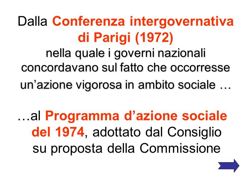 La fase dell ottimismo liberale Forte prudenza nel processo di produzione della normativa sociale. Lattenzione verso la dimensione sociale dellEuropa