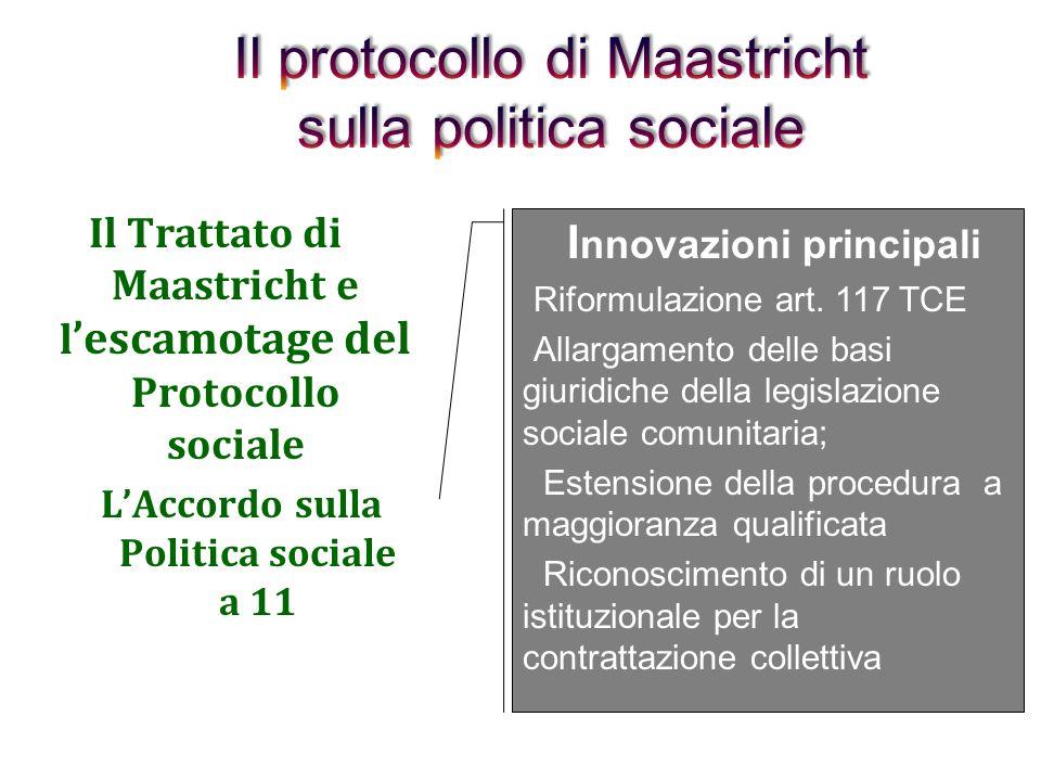 1992 - Il Trattato di Maastricht la c.d. politica sociale a due vie: ladozione dellAccordo (o Protocollo) sulla politica sociale (APS) limitato ad und
