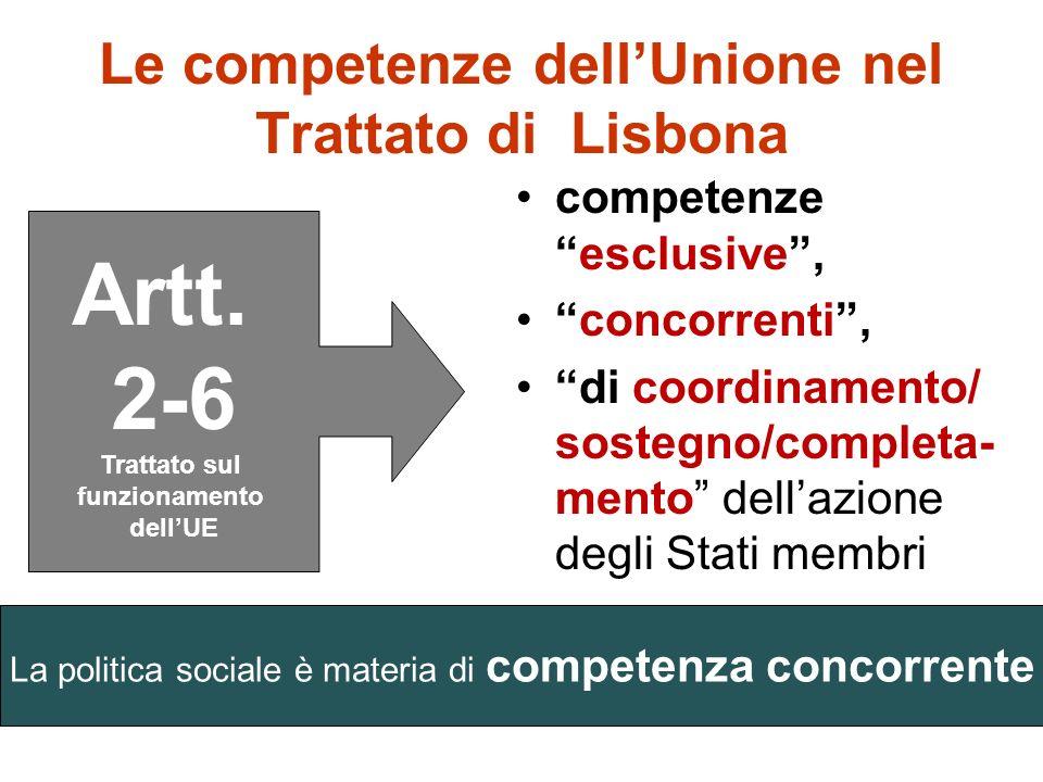 Le competenze dellUnione I precedenti trattati istitutivi non contenevano disposizioni specifiche sulle competenze, tanto è vero che nei lavori della