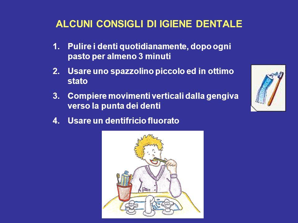 ALCUNI CONSIGLI DI IGIENE DENTALE 1.Pulire i denti quotidianamente, dopo ogni pasto per almeno 3 minuti 2.Usare uno spazzolino piccolo ed in ottimo st